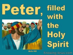 Acts 4:8 Peter Filled With The Holy Spirit (aqua)
