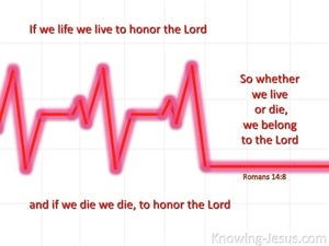 Romans 14:8 We Live And Die To The Lord red