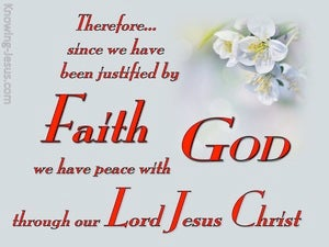 Romans 5:1 Justified By Faith red