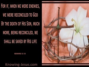 Romans 5:10 Reconciled And Saved (black)