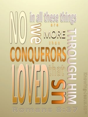 Romans 8:37 We Are More Than Conquerors (orange)