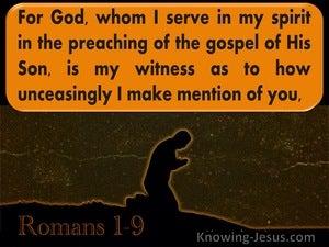 Romans 1:9 For God Whom I Serve Is Is My Witness (orange)