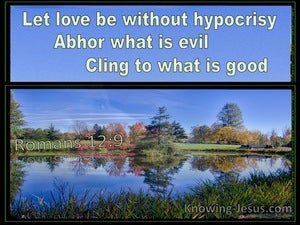 Romans 12:9 Let Love Be Without Hypocrisy Abhor What Is Evil Cling To What Is Good (blue)