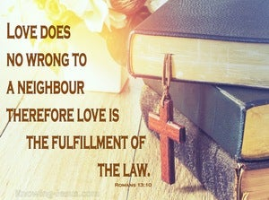 Romans 13:10 Love Does No Wrong To A Neighbour (brown)