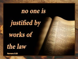 Romans 3:20 Knowledge of Sin is Through the Law (beige)