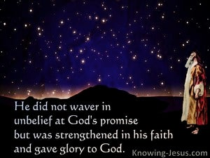Romans 4:20 He Did Not Waver In Unbelief At God's Promise (black)