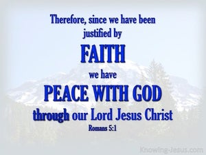 Romans 5:1 Justified By Faith (blue)
