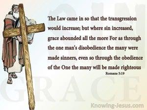 Romans 5:19 Thru One Man's Obedience (beige)