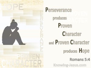 Romans 5:4 Perseverance Produces Character Which Produces Hope (beige)