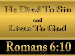 Romans 6:10 He Died To Sin Once (gold)