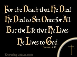 Romans 6:10 He Died To Sin Once (orange)
