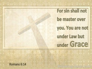 Romans 6:14 For Sin Shall Not Be Master Over You, For You Are Not Under Law But Under Grace (white)