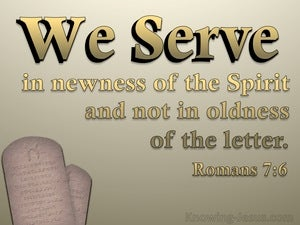 Romans 7:6 We Serve In Newness Of The Spirit (gold)