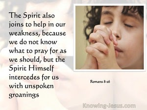 Romans 8:26 The Spirit Himself Makes Intercession For Us With Groanings (pink)