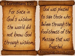 1 Corinthians 1:21 The Message Of The Cross brown