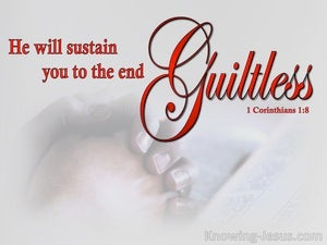 1 Corinthians 1:8 He Will Sustain You Guiltless red