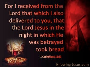 1 Corinthians 11:23 The Night He Was Betrayed Jesus Took Bread (red)