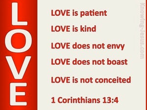 1 Corinthians 13:4 Love is Patient (red)