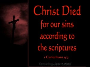 1 Corinthians 15:3 Christ Died For Our Sins red
