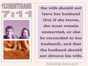 1 Corinthians 7:11 The Wife Should Not Leave The Husband Should Not Divorce pink