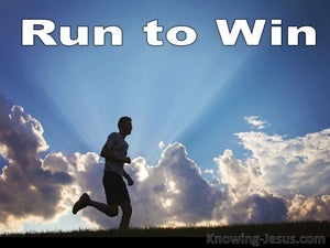 1 Corinthians 9:24 Run To Win blue