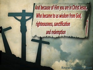 1 Corinthians 1:30 Christ Became To Us Wisdom From God (gray)