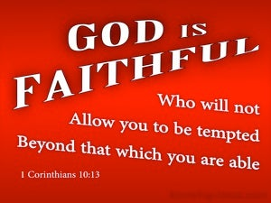 1 Corinthians 10:13 God Is Faithful (red)