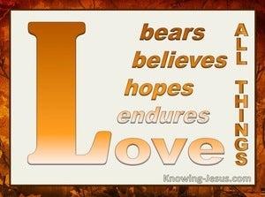 1 Corinthians 13:7 Endures Bears All Things (orange)