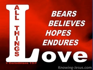 1 Corinthians 13:7 Love Endures All Things (red)