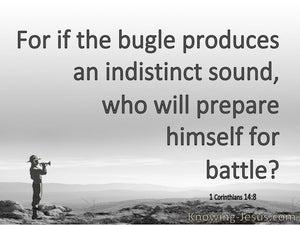 1 Corinthians 14:8 Who Will Prepare For Battle (gray)