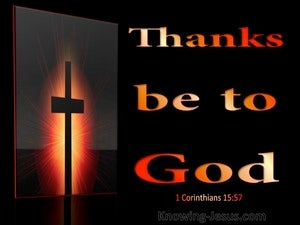 1 Corinthians 15:57 Thanks Be To God (red)
