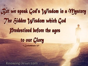 1 Corinthians 2:7 We Speak God's Wisdom In A Mystery (brown)