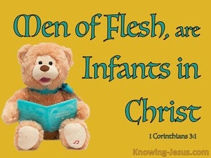 1 Corinthians 3:1 Men Of Flesh Are Infants In Christ (aqua)