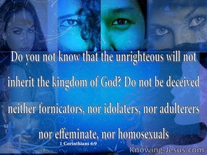 1 Corinthians 6:9 The Unrighteous Will Not Inherit The Kingdom (blue)