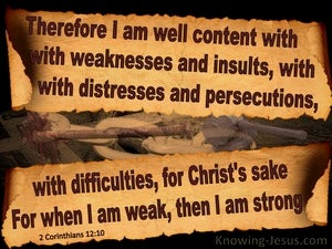 2 Corinthians 12:10 Content For Christ's Sake (brown)