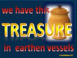 2 Corinthians 4:7 Treasure In Earthern Vessels blue