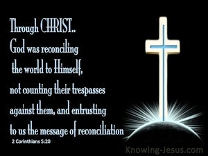 2 Corinthians 5:20 God Was Reconciling The World To Himself blue