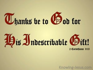 2 Corinthians 9:15 Jesus The Incomparable Gift (red)