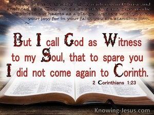 2 Corinthians 1:23 God As Witness To My Soul (white)