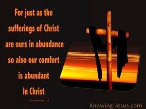 2 Corinthians 1:5 His Suffering And Comfor Is Abundant Through Christ (black)