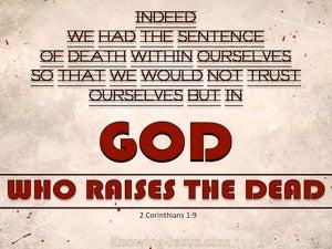 2 Corinthians 1:9 God Who Raises The Dead (red)