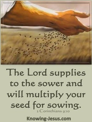 2 Corinthians 9:10 The Lord Supplies Seed. He Multiplies Your Sowing (sage)
