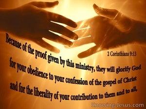 2 Corinthians 9:13 Your Liberal Contribution Glorifies God (black)