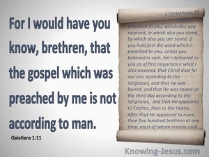 Galatians 1:11 Paul's Gospel. Not Received From Man blue