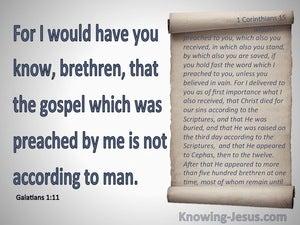 Galatians 1:11 Paul's Gospel. Not Received From Man (blue)