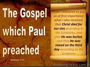 Galatians 1:11 Paul's Gospel. Not Received From Man (brown)