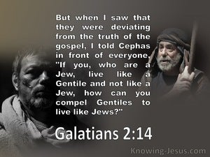 Galatians 2:14 Paul And Peter Deviating From The Truth  (white)