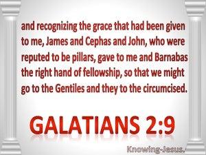 Galatians 2:9 James, Peter, John Paul Barnabas : The Right Hand Of Fellowship (red)