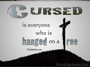 Galatians 3:13 Cursed Is He Who Hangs On A Tree (gray)