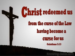 Galatians 3:13 Cursed Is He Who Hangs On A Tree (red)